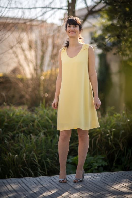 Robe jaune pale origami - Collection Printemps Sunshine - Made in France à Nantes
