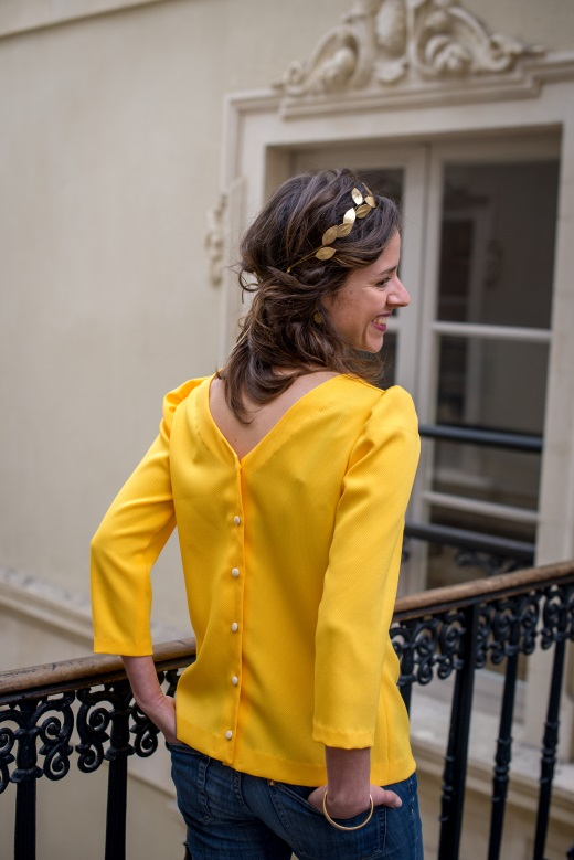 chemisier anna yellow dos nu dos boutons slow fashion mode ethique made in france julie laurent